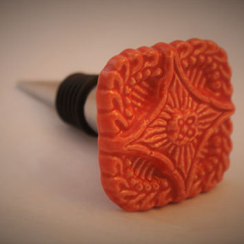 Orange Red Winestopper, Wedding Bottle Stopper, Unique Wine Topper, OOAK Hostess Gift, Wine Themed Valentine's Day Present, Housewarming