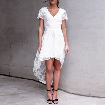 Stylish V-neck Short Sleeve Hollow Out Sexy Lace One Piece Dress [11335937735]