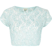 River Island Womens Light blue lace sequin embellished crop top