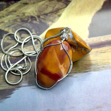 Mookaite Jasper oval shape pendant silver wire wrapped with silver plated necklace