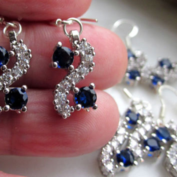 Sterling sapphire earrings pierced blue sapphire pierced earrings crystal earrings Austian crystal sapphire earrings sapphire jewelry
