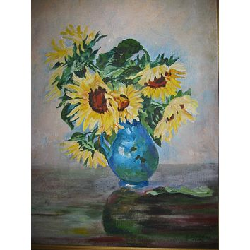 Still Life Golden Sunflowers in Blue Vase Pastel Painting Signed CF Horn Dated 1938