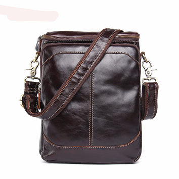 Genuine Leather Bags Men High Quality Messenger Bags Small Travel Dark Brown Crossbody Shoulder Bag For Men - Bolsa para Hombre
