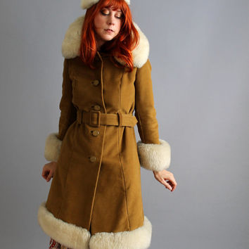 Storewide Sale - Tan Faux Suede Coat. Faux Fur. Penny Lane. Outerwear. Warm And Cozy. Fall Fashion