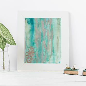 Tropical Ocean Abstract Turquoise and Gold Wall Art Print