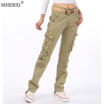 2017 New Women's cotton Cargo Pants Leisure Trousers more Pocket pants pants free shipping