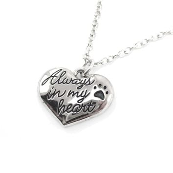 """Always in my Heart"" Heart Shaped Pendant Necklace 