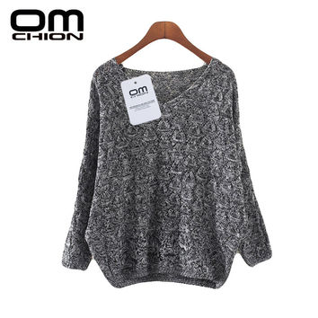 2016 Autumn Winter Sweter Mujer Deep V- Neck Solid Knit Long Sleeve Casual Sweaters Grey Loose Sweater Women Pullovers LMY24