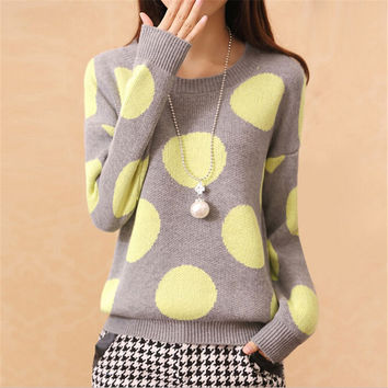 Women Polka Dot Pattern Warm Winter Sweaters 2016 Fashion Women Sweaters And Pullovers O-Neck Casual Sweater Mujer Pull Femme