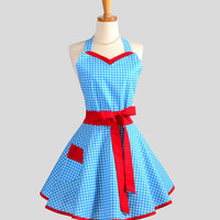 Sweetheart Retro Apron : Sexy Kitchen Apron in Adorable Blue and White Gingham with Red Ruffle Trim