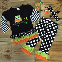 Halloween Owl Ruffled Outfit