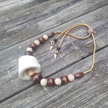 Men's Bone Necklace - Men's Tribal Necklace - Mens Leather Necklace - Shamans necklace - Pagan Jewelry - Wiccan Jewelry - Boho Necklace