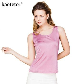 DCCKFC9 100% Real Silk Women Tank Tops Femme O-Neck Tee Shirt Tops Women Sleeveless Candy Color Female Basic Wild Causal Vest Top Shirts
