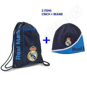 Real Madrid Cinch + Beanie Navy New Colors Bag Sack Soccer Book Backpack