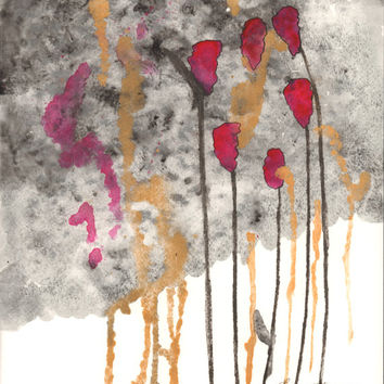 Abstract Art Watercolor Acrylic Painting Rose Black Gold Metallic Floral Home Wall Decor - Free Shipping *