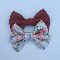 Rust and Floral Hairbow Set