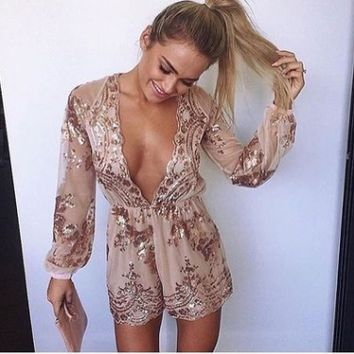 Fashion Chiffon Gauze Deep V-Neck Sequin Long Sleeve Drawstring Romper Jumpsuit