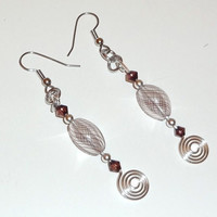 Red-Violet Color Bead Swirl Dangle Earrings