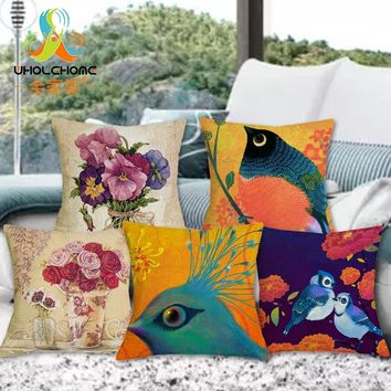Luxury Flower and Vase Cushion Cover Pillowcase Bed Car Hotel Printed Home Decor Sofa Vintage Modern Cushion Coussin Decoration