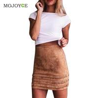 FashionTassel Suede Leather Pencil Skirt High Waist Slim Mini Short Skirts Bodycon Package Hip Skirt Plus Size SN9