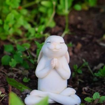 Yoga Bunny Miniature Figurine Seated Namaste Pose 2H