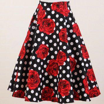 skirt flare full cotton polka dot red flower rock n roll clothing women's skirts vintage vestidos 50's 60's rockabilly pin-up xl