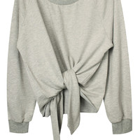 ROMWE Asymmetric Self-tied Belt Loose Grey Sweatshirt