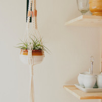 Macrame Plant Holder ~ Cotton and Rustic Copper Handcrafted