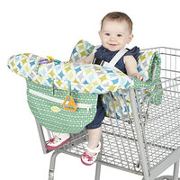 Nuby Shopping Cart and High Chair Cover, Universal Size, Adjustable Safety Straps, Folds into Handbag, Baby's High Chair Cover, Infant Shopping Cart, Green, Yellow and Blue