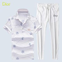 DIOR Summer New Fashion Letter More Floral Lapel Top And Pants Women Men Leisure Two Piece Suit White