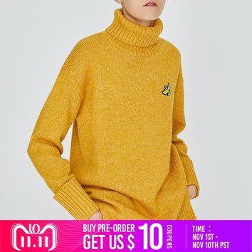 Toyouth Autumn Winter Fashion Turtleneck Christmas Jumper Sweater Long Sleeve Casual Knitted Embroidery Pattern Female Pullovers