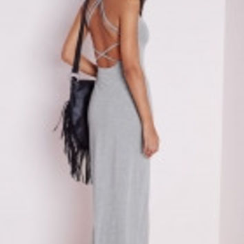 Grey Multi X-Strap Back Jersey Maxi Dress