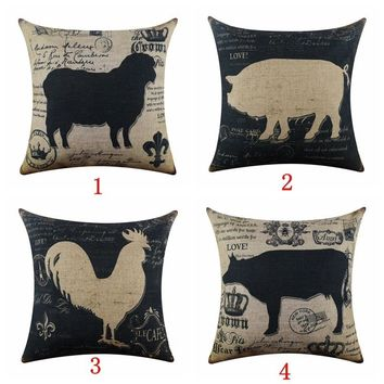 Vintage Look Farm Animal Burlap Pillow Cover Sheep Pig Rooster Cow Country Farmhouse Home Decor