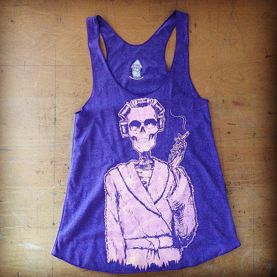 Curlers on AA Tri-Orchid Racerback Tank Size Large