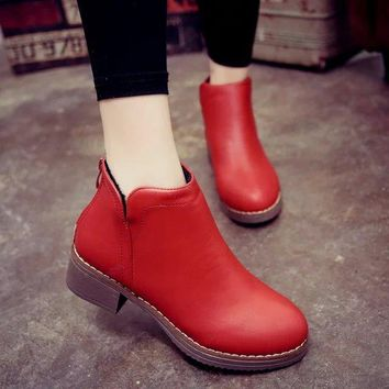 Pu Pure Color Back Zipper Square Heel Flat Ankle Boots