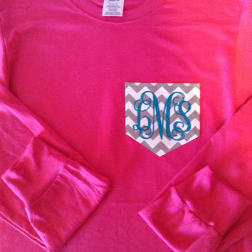 LONG SLEEVE Monogram Chevron Pocket T-Shirt Womens