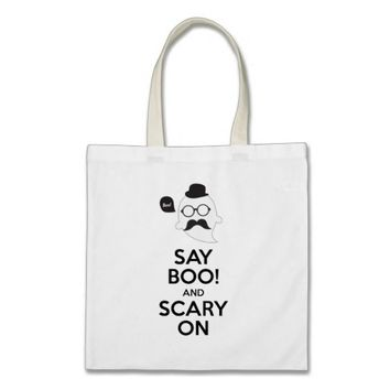 Say boo! and scary on Halloween canvas tote bag