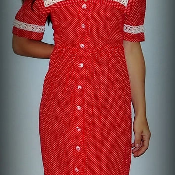 Vintage Prairie Style Red and White Polka Dot Dress