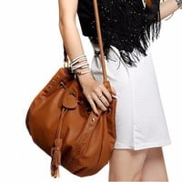 New Hot Brand Fashion Lady Handbag Shoulder Bag Tote Purse PU Leather Women Messenger Hobo Bags Drawstring Tassels Retro Package