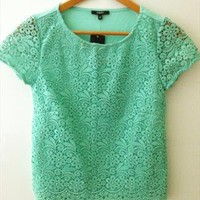Mint Green Lace Box Top from shopstaygold