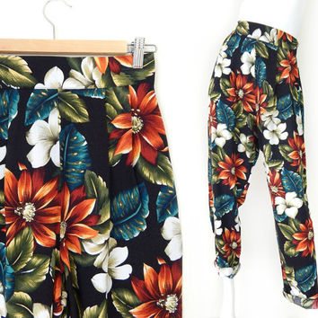 Vintage 80s Tropical Print High Waisted Pleated Pants - Size Medium - Women's Léger Colorful Baggy Hawaiian Floral Print Resort Trousers