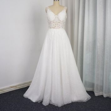 A Line Light Lace Wedding Dresses Illusion Corset Low Back Unique Bridal Gown