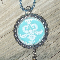 Blue Beauty Bottle Cap Charm Necklace