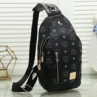 MCM Woman Men Fashion Leather Chest Pack Bag Single Shoulder Bag