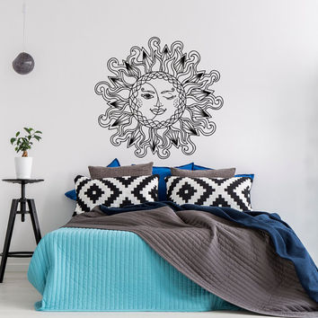 Sun And Moon Vinyl Wall Decal Bedroom- Sun Moon Stars Wall Decal- Sun And Moon Decor Boho Bohemian Wall Decals Headboard Bedroom Dorm #45