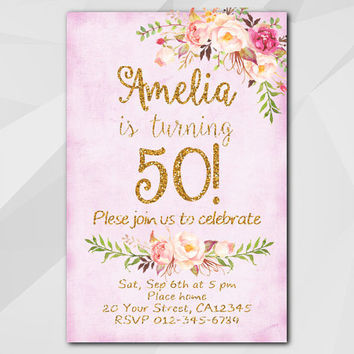 50th Birthday Invitation, Pink Gold Invitation, Any age 13th 18th 21st 30th 40th 50th, Custom Birthday Party invitation XA302f
