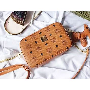 MCM fashion hot seller women's print shopping bag hot seller casual shoulder bag Brown