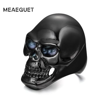 Meaeguet Cool Rock Black/Gold-Color Rings For Men Skull Design Stainless Steel Halloween Bike Rings Men Party Jewelry Gifts