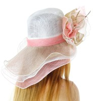 Ready for the Races Sinamay Derby Hat, White with Pink with Beige