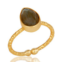 18k Gold Plated Sterling Silver Stackable Ring with Labradorite